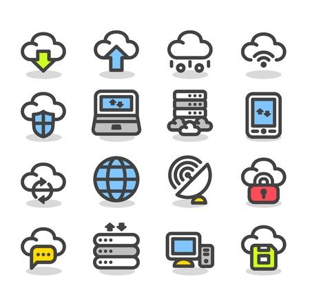 간단한 시리즈 인터넷, 비즈니스, 클라우드 컴퓨팅 아이콘 세트 일러스트