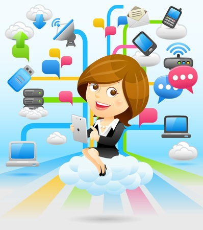 expertise concept: Businesswoman,Tablet PC,Cloud computing concept