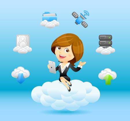 equipos trabajo: Empresaria concepto de comunicaci�n Vectores