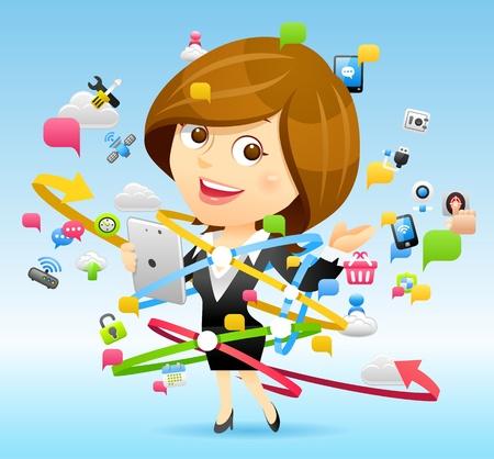 cloud computing concept: Businesswoman,Tablet PC,Cloud computing concept