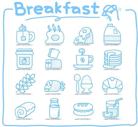 퓨어 시리즈 손으로 그린 아침 식사, 음식 아이콘을 설정 일러스트