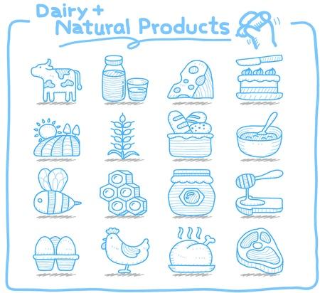 lacteos: Dibuja la serie Pure mano l�cteos, productos naturales icon set