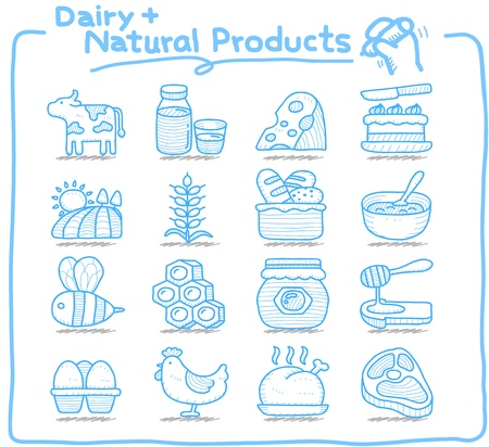 hand drawn: Pure Series   Hand drawn Dairy , Natural Product icon set Illustration