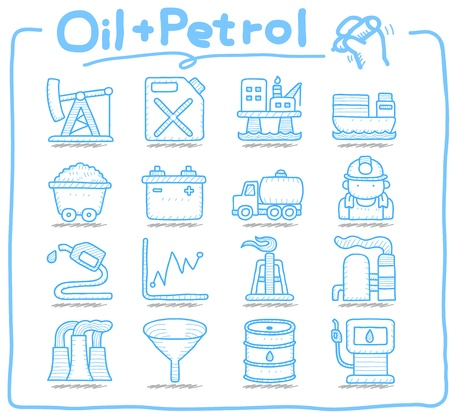 Pure-serie Getrokken olie, benzine icon set