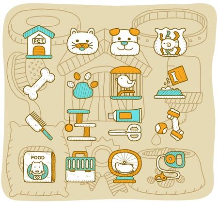 háziállat: Mocha sorozat Pet, állatok icon set Illusztráció