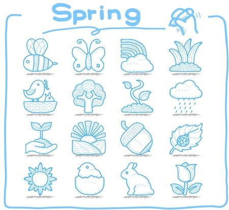 퓨어 시리즈 손으로 그린 봄, 계절 아이콘 세트 일러스트
