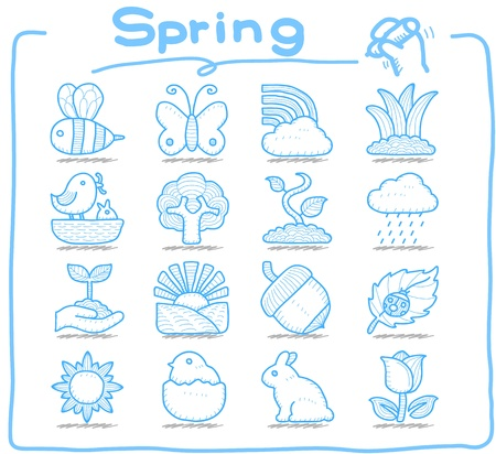 bumblebee: Pure Series   Hand drawn Spring,Season  icon set Illustration