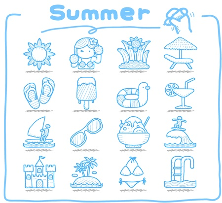 Pure Series   Hand drawn Summer , Season  icon set Vector