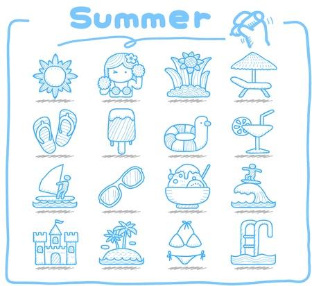 Pure Series   Hand drawn Summer , Season  icon set Illustration