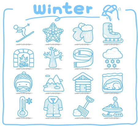 ski resort: Pure Series   Hand drawn Winter , Season , icon set