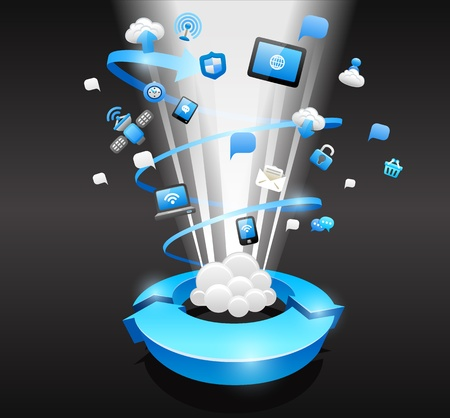 cloud computing services: Cloud computing concept Illustration