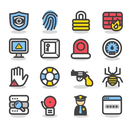 Simple Series Security , network , internet icon set Stock Vector - 13240794