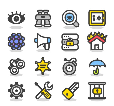alarme securite: S�curit� S�rie simple, r�seau, internet jeu d'ic�nes