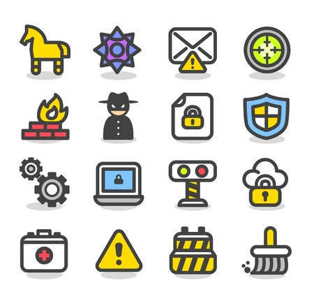 cavallo di troia: Serie di sicurezza semplice, rete, internet set di icone Vettoriali