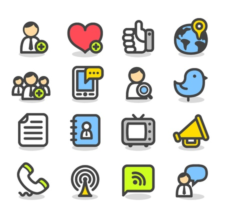 Simple Series Sociale, Network icon set Stock Illustratie