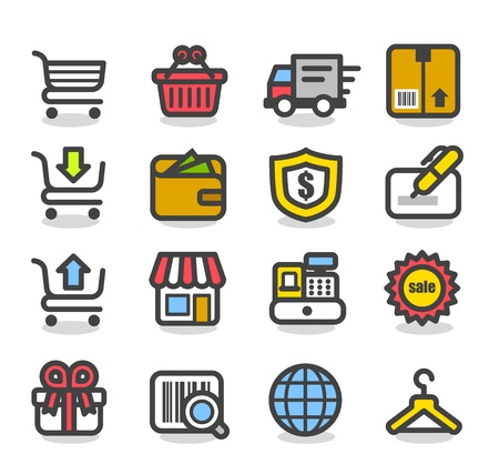 e business: Simple Series   Network,Shopping icon set