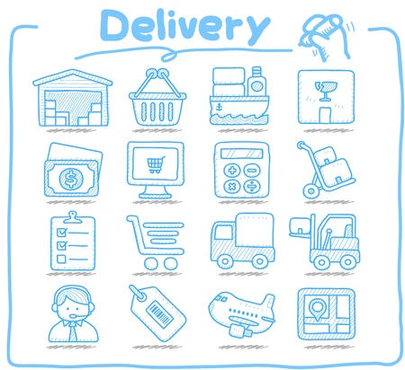 freight shipping: Pure series,Hand drawn Delivery,mail icon set