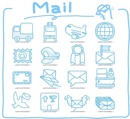 airplane mode: Pure series,Hand drawn Delivery,mail icon set