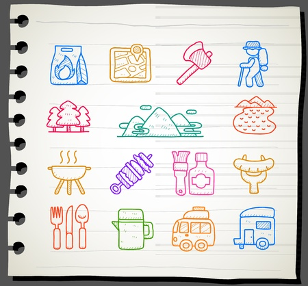 Sketch book Series , travel,picnic ,camping icon set Stock Vector - 13451369