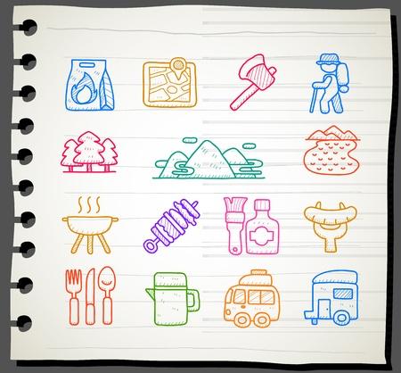 sketchbook: Sketch book Series , travel,picnic ,camping icon set Illustration