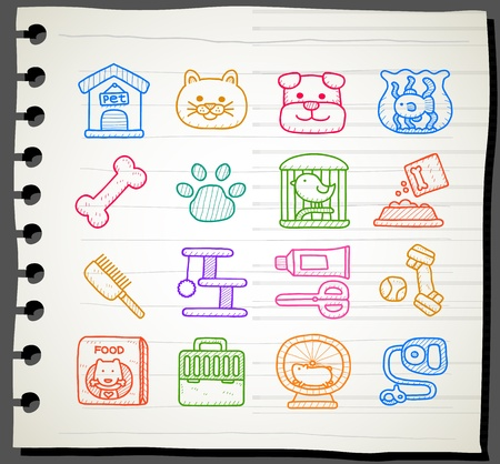 Sketchbook series,Pet icon set Stock Vector - 13451377