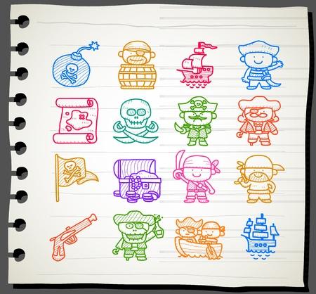 Sketchbook série, Pirate jeu d'icônes Vecteurs