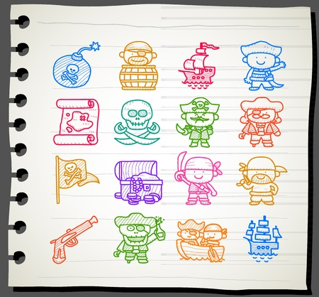 barrel bomb: Sketchbook series,Pirate icon set