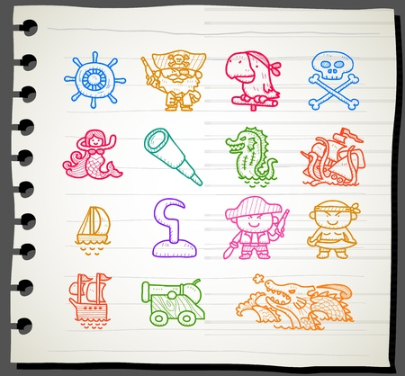 Sketchbook series,Pirate icon set Vector