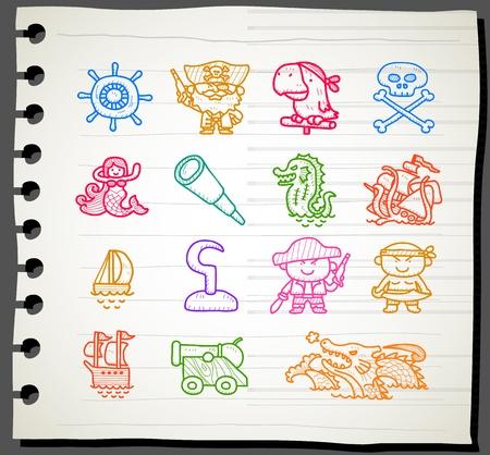 poison sea transport: Sketchbook series,Pirate icon set