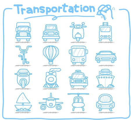 Pure series,Hand drawn transportation icon set Vector