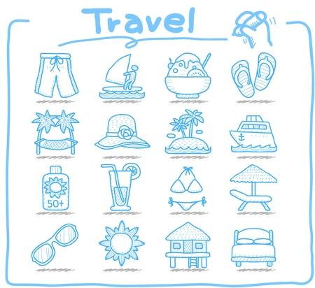 순수 시리즈, 손으로 그린 휴가, 여행 아이콘 세트 일러스트
