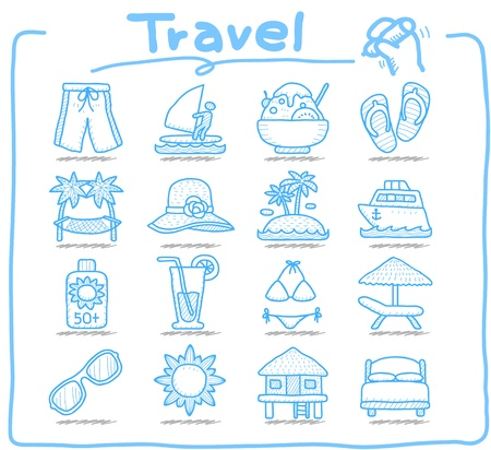 bungalows: Pure Series ,Hand drawn Vacation, Travel icon set Illustration
