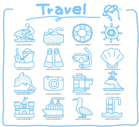 Pure Series ,Hand drawn Vacation, Travel icon set Stock Vector - 13451384