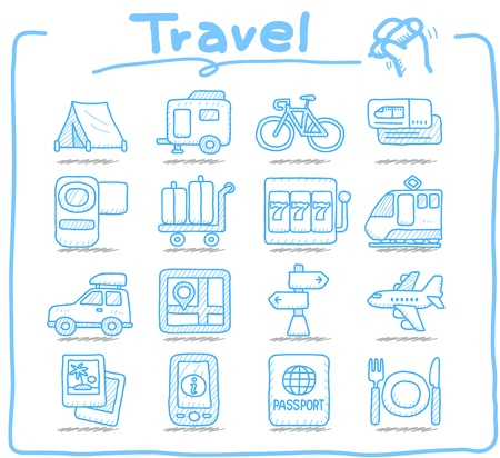 Pure Series ,Hand drawn Vacation, Travel icon set Vector