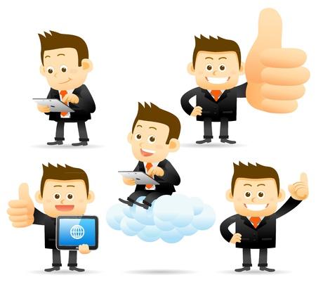 La gente elegante de la serie - el hombre de negocios, el concepto de Cloud Computing Ilustración de vector