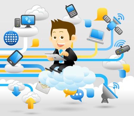 computadora caricatura: La gente elegante de la serie - el hombre de negocios, el concepto de Cloud Computing Vectores