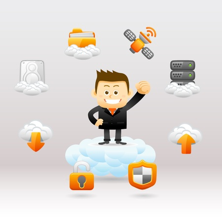 Elegant People Series - Business man ,Cloud computing concept Vector