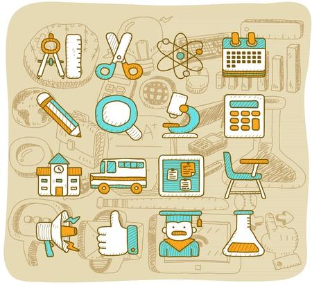 Mocha Serie - School, onderwijs icon set Vector Illustratie