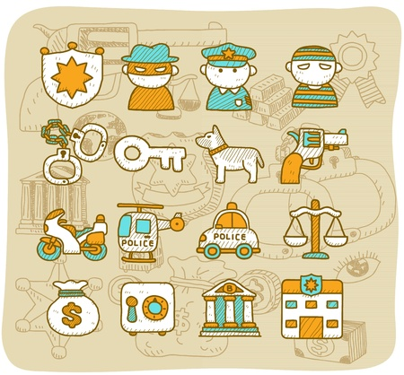 Mocha Series - Police icon set Stock Vector - 13543867
