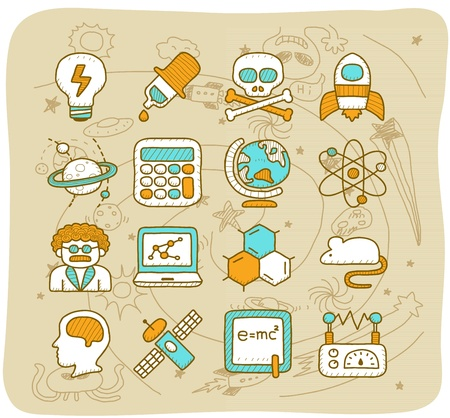 Mocha Series - Science icon set Stock Vector - 13543866