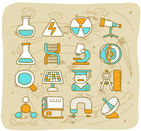 Mocha Series - Science icon set Stock Vector - 13543872