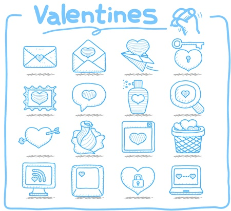 Pure Series - Hand drawn valentine s Day ,love , wedding icon set Vector
