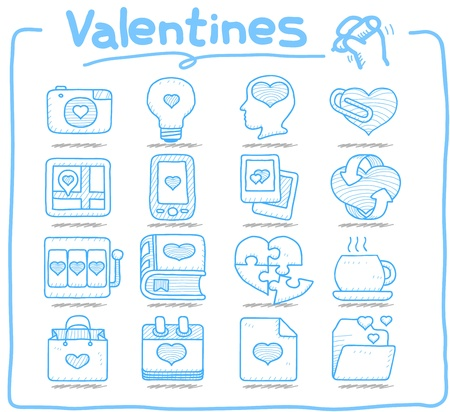 Pure Series - Hand drawn valentine s Day ,love , wedding icon set Stock Vector - 13543875
