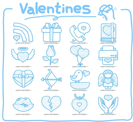 office romance: Pure Series - Hand drawn valentine s Day ,love , wedding icon set