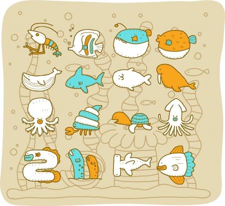 Sea animals set - Mocha Series Vector
