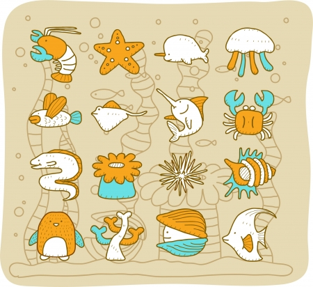 Sea animals set - Mocha Series Stock Vector - 13662163