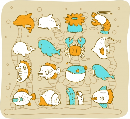 Sea animals set - Mocha Series Vector