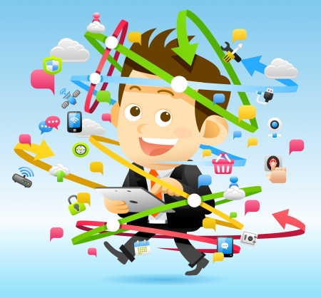 Businessman   Cloud computing concept Illustration