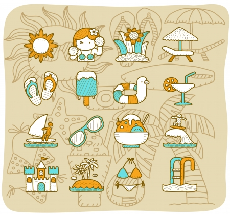 Mocha Series   Summer icon set Vector