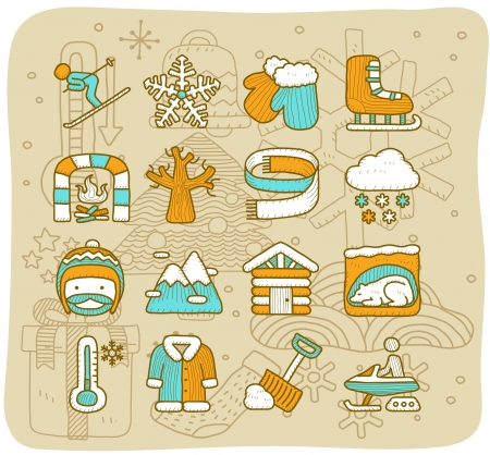 clothing rack: Mocha Series   Winter icon set Illustration
